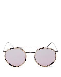 Illesteva - Women's Allen Brow Bar Mirrored Round Sunglasses, 50mm