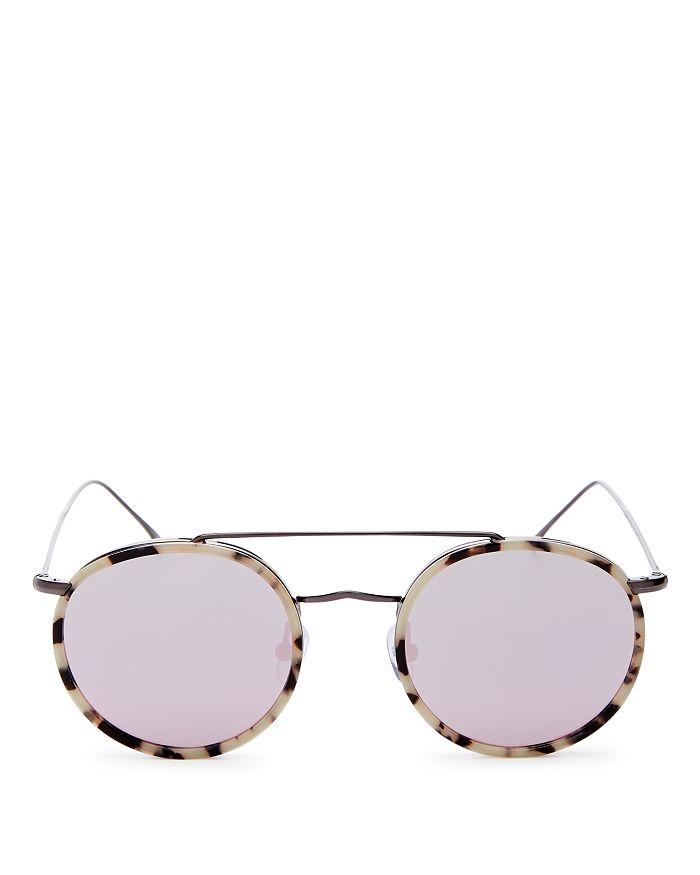 Illesteva Women's Allen Brow Bar Mirrored Round Sunglasses, 50mm