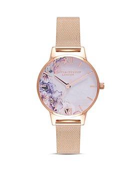 Olivia Burton - Watercolour Floral Mesh Bracelet Watch, 30mm