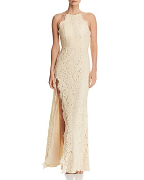 Fame and Partners - Dragon Eyes Lace Halter Gown