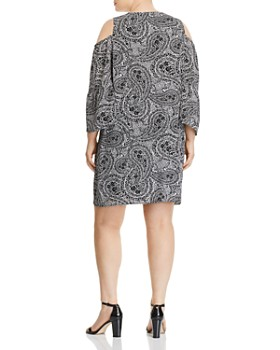 Cupio Plus - Paisley-Print Cold-Shoulder Dress