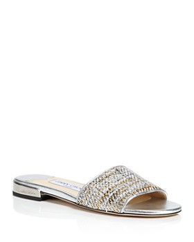 Jimmy Choo - Joni Woven Metallic Slide Sandals