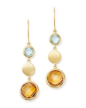 Bloomingdale's - Citrine & Blue Topaz Round Drop Earrings in 14K Yellow Gold - 100% Exclusive