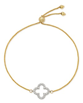 Bloomingdale's - Diamond Clover Bolo Bracelet in 14K White & Yellow Gold, 0.20 ct. t.w. - 100% Exclusive