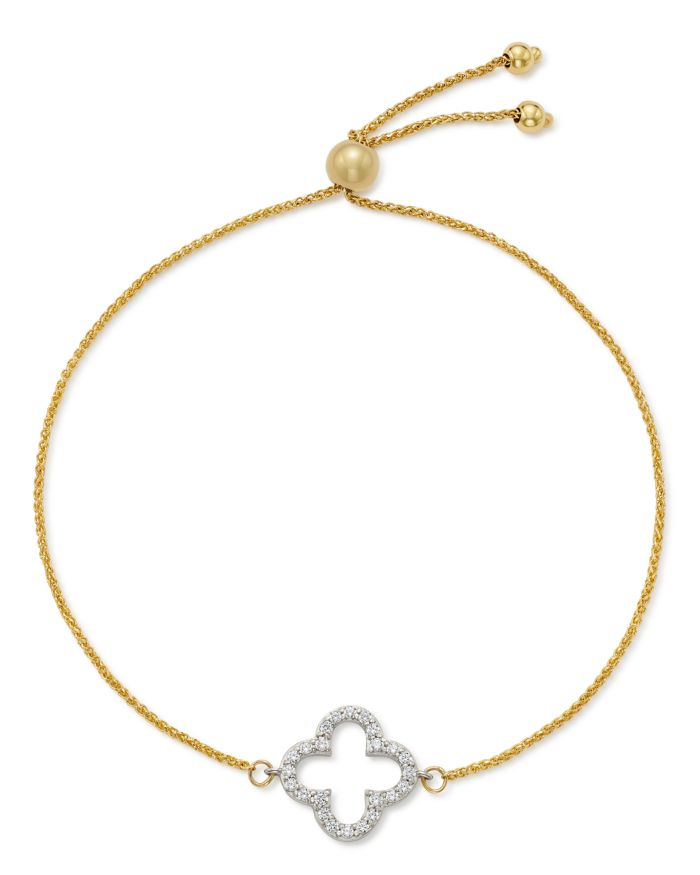 Bloomingdale's Diamond Clover Bolo Bracelet in 14K White & Yellow Gold, 0.20 ct. t.w. - 100% Exclusive   | Bloomingdale's