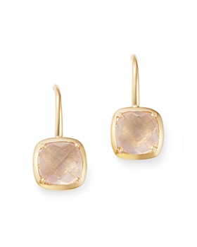 Bloomingdale S Rose Quartz Square Drop Earrings In 14k Yellow Gold 100 Exclusive