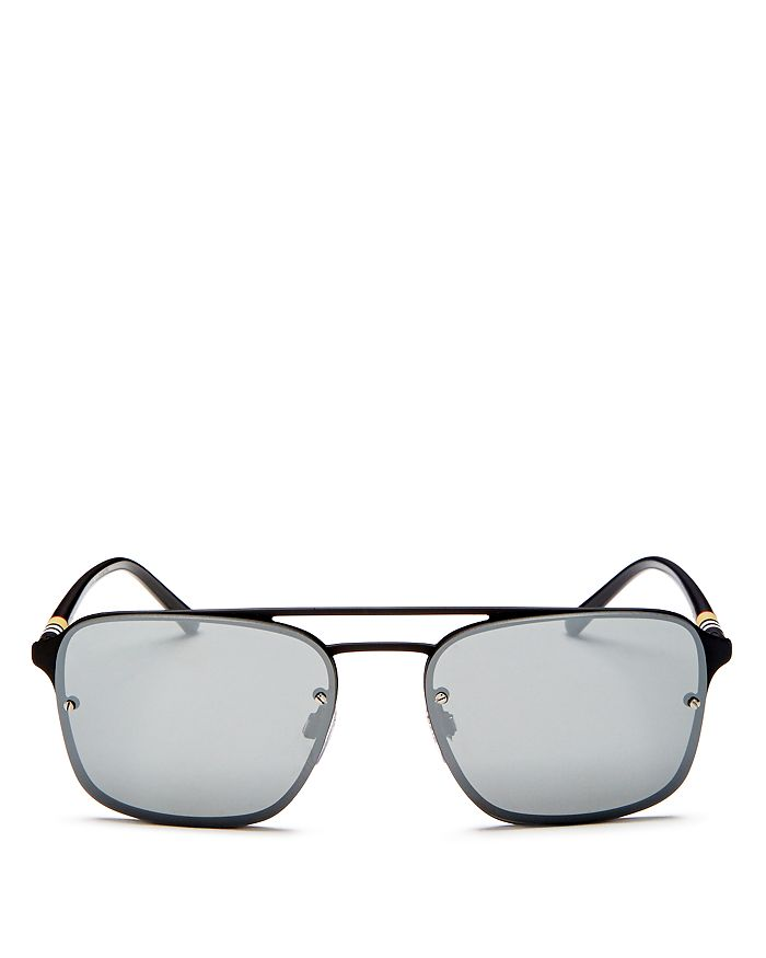 Burberry - Men's Mirrored Brow Bar Square Aviator Sunglasses, 56mm