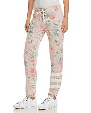Sundry Stripe-Detail Tropical Print Sweatpants
