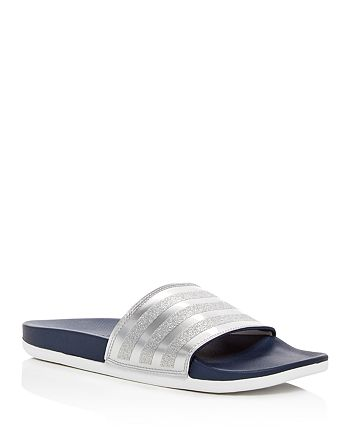 2df5b0bc0303 Adidas Women's Adilette Comfort Glitter 3-Stripe Pool Slide Sandals ...