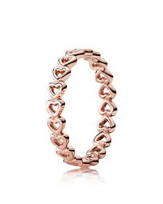 PANDORA Rose-Tone Sterling Silver Linked Love Ring - Bloomingdale's_0