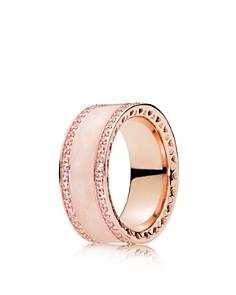 PANDORA - Rose Gold-Tone Sterling Silver Hearts of PANDORA Ring