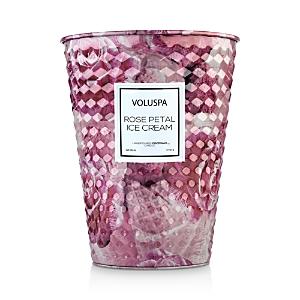 Voluspa Rose Petal Ice Cream Embossed Large Tin Candle