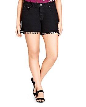 City Chic Plus - Pom-Pom Trimmed Jean Shorts