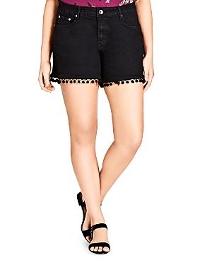 City Chic Plus Pom-Pom Trimmed Jean Shorts