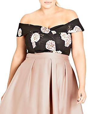 City Chic Plus Antique Rose Off-the-Shoulder Crop Top