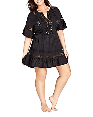 City Chic Plus Evie Embroidery-Inset Dress