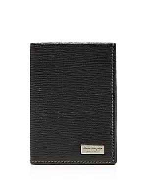 New Salvatore Ferragamo Men's Revival Credit Card Holder With Id Window, Black