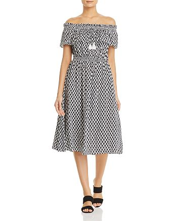 kate spade new york - Arrow Stripe Off-the-Shoulder Midi Dress