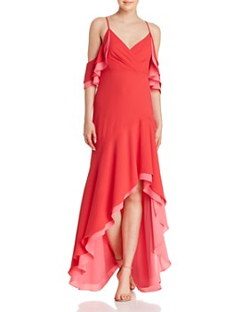 Bcbgmaxazria Ruffled Cold Shoulder Gown