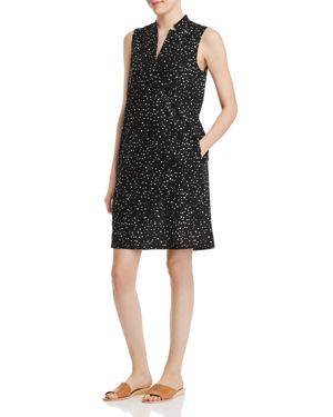 Eileen Fisher Petites Organic-Cotton Dot-Print Dress 2978452