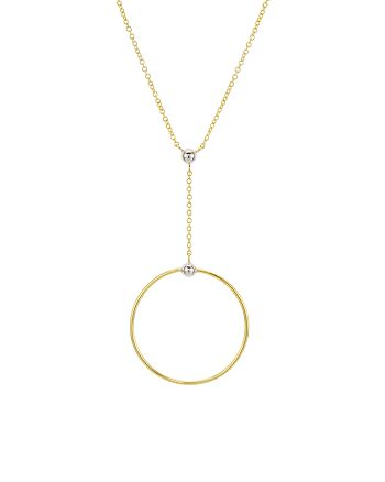 """Argento Vivo - 18K Gold-Plated Sterling Silver Open Circle Y Necklace, 15"""""""