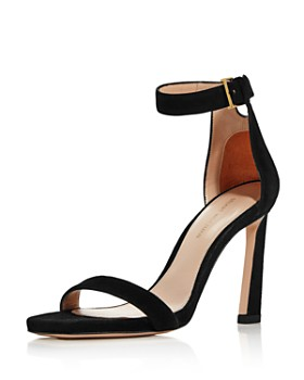 Stuart Weitzman - Women's Square Nudist Suede High-Heel Sandals