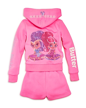 Butter x Nickelodeon Girls Shimmer and Shine Embellished Fleece Hoodie  Shorts Set Little Kid  100 Exclusive