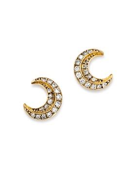 SUEL - Blackened 18K Yellow Gold Crescent Moon Diamond Earrings