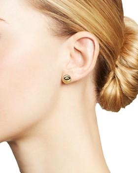 SUEL - 14K Yellow Gold Domed Evil Eye Earrings
