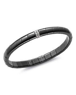 Roberto Demeglio - 18K White Gold & Black Ceramic Pura Stretch Bracelet with Diamonds