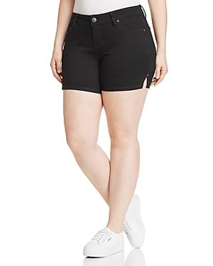 Slink Jeans Plus Side Vent Denim Shorts in Black