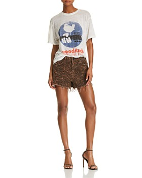 alexanderwang.t - Bite Denim Shorts in Tan Leopard