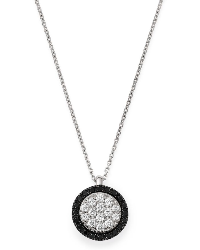 """Bloomingdale's Black & White Diamond Circle Pendant Necklace in 14K White Gold, 17"""" - 100% Exclusive   