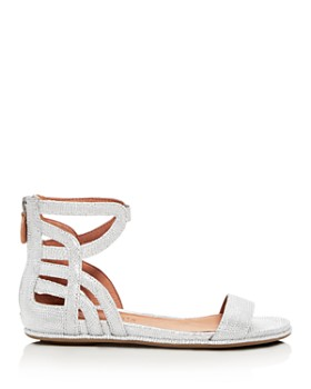 Gentle Souls by Kenneth Cole - Women's Larisa Snake Embossed Leather Ankle Strap Demi Wedge Sandals