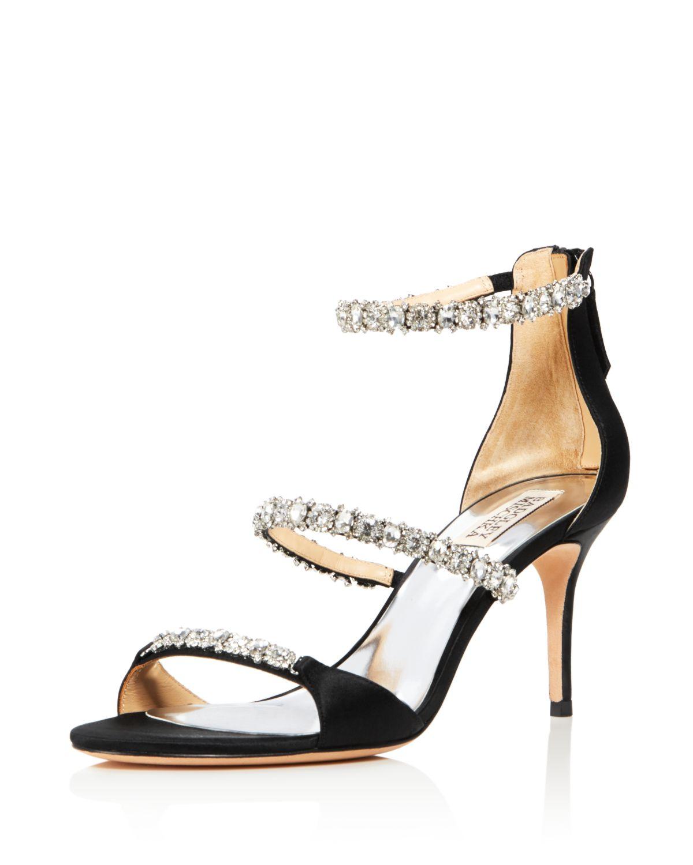 Badgley Mischka Women's Yadira Embellished Satin Triple Strap High-Heel Sandals
