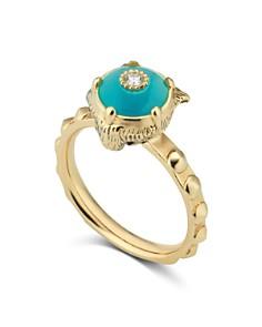 Gucci - 18K Yellow Gold Le Marché Des Merveilles Turquoise & Diamond Feline Head Ring
