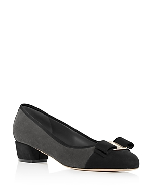 Salvatore Ferragamo Women's Vara Color-Block Suede Low Heel Pumps