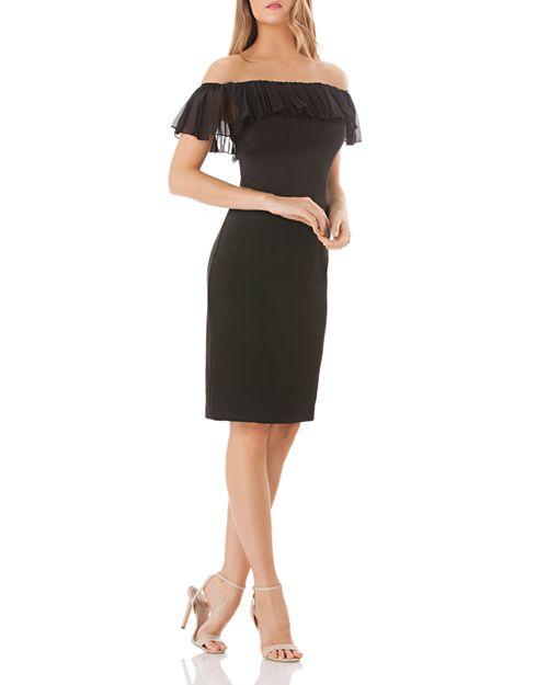 Carmen Marc Valvo - Off-the-Shoulder Crepe Dress
