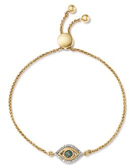 Adina Reyter - 14K Yellow Gold Tiny Evil Eye Blue & White Diamond Bolo Bracelet