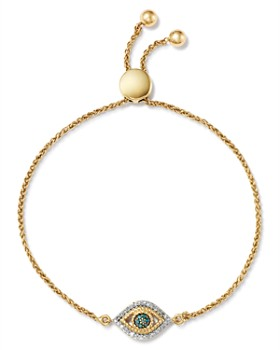 Adina Reyter - 14K Yellow Gold Tiny Evil Eye Blue & White Diamond Bolo Bracelet