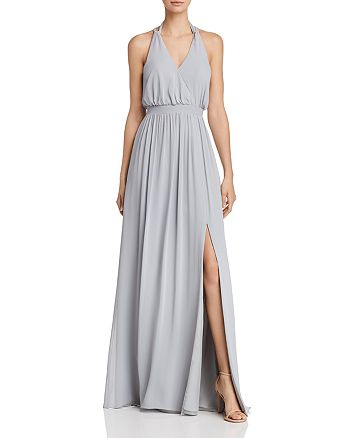 Watters - Fleurette Draped Chiffon Gown