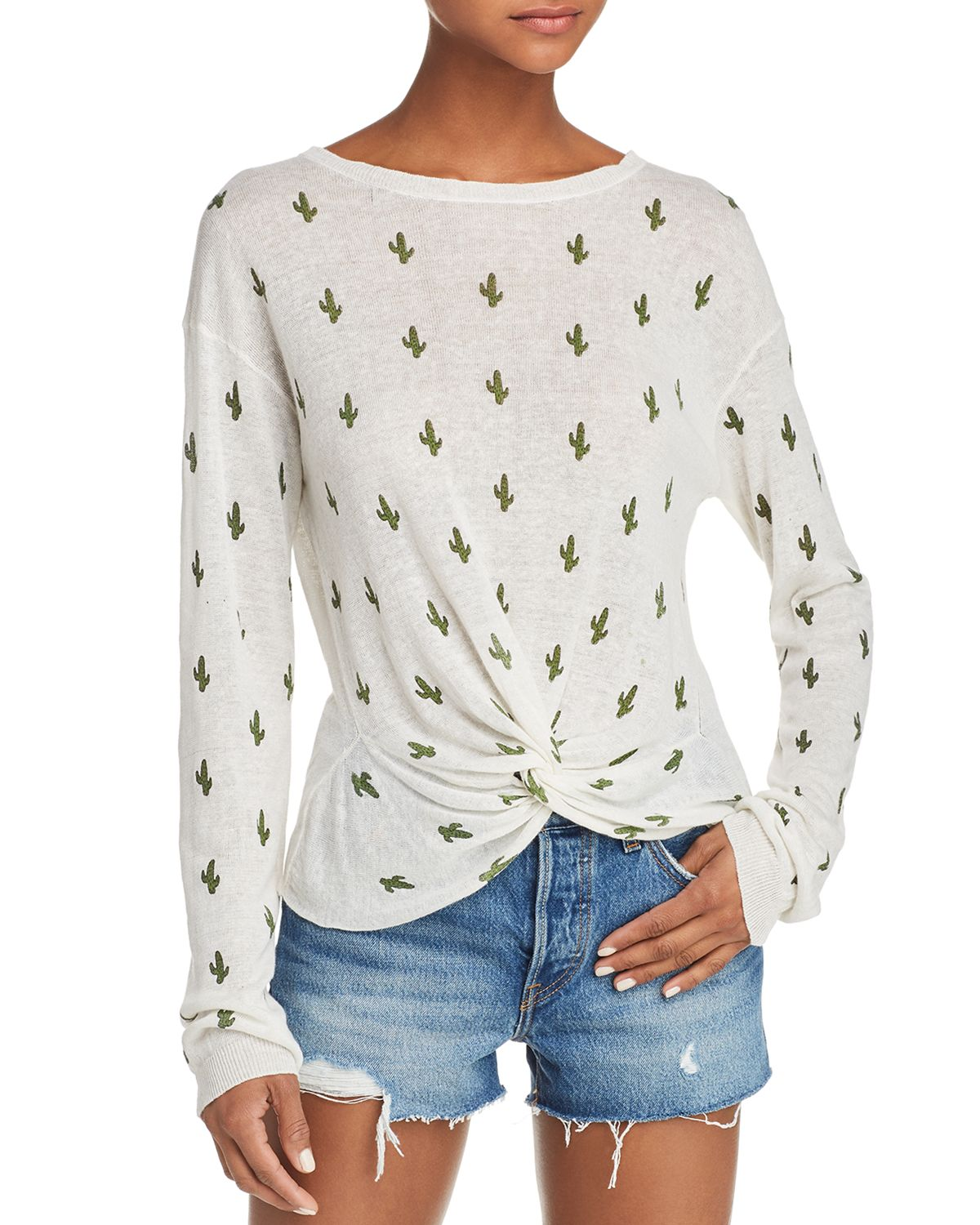 Cactus Print Twist Front Sweater   100 Percents Exclusive  by Aqua