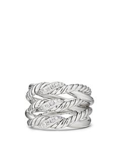 David Yurman - Continuance Three-Row Ring with Diamonds