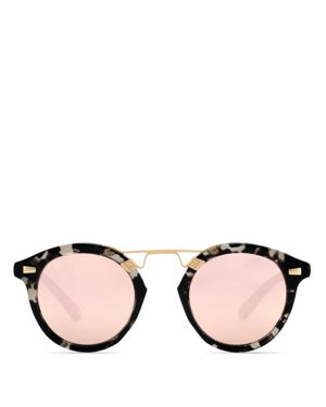 Women'S Stl Ii 24K Mirrored Round Sunglasses, 48Mm, Charcoal/Rose