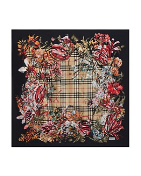 Burberry - Floral Scribble Silk Scarf