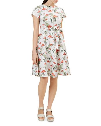 HOBBS LONDON - Sorrento Flamingo Print Linen Dress