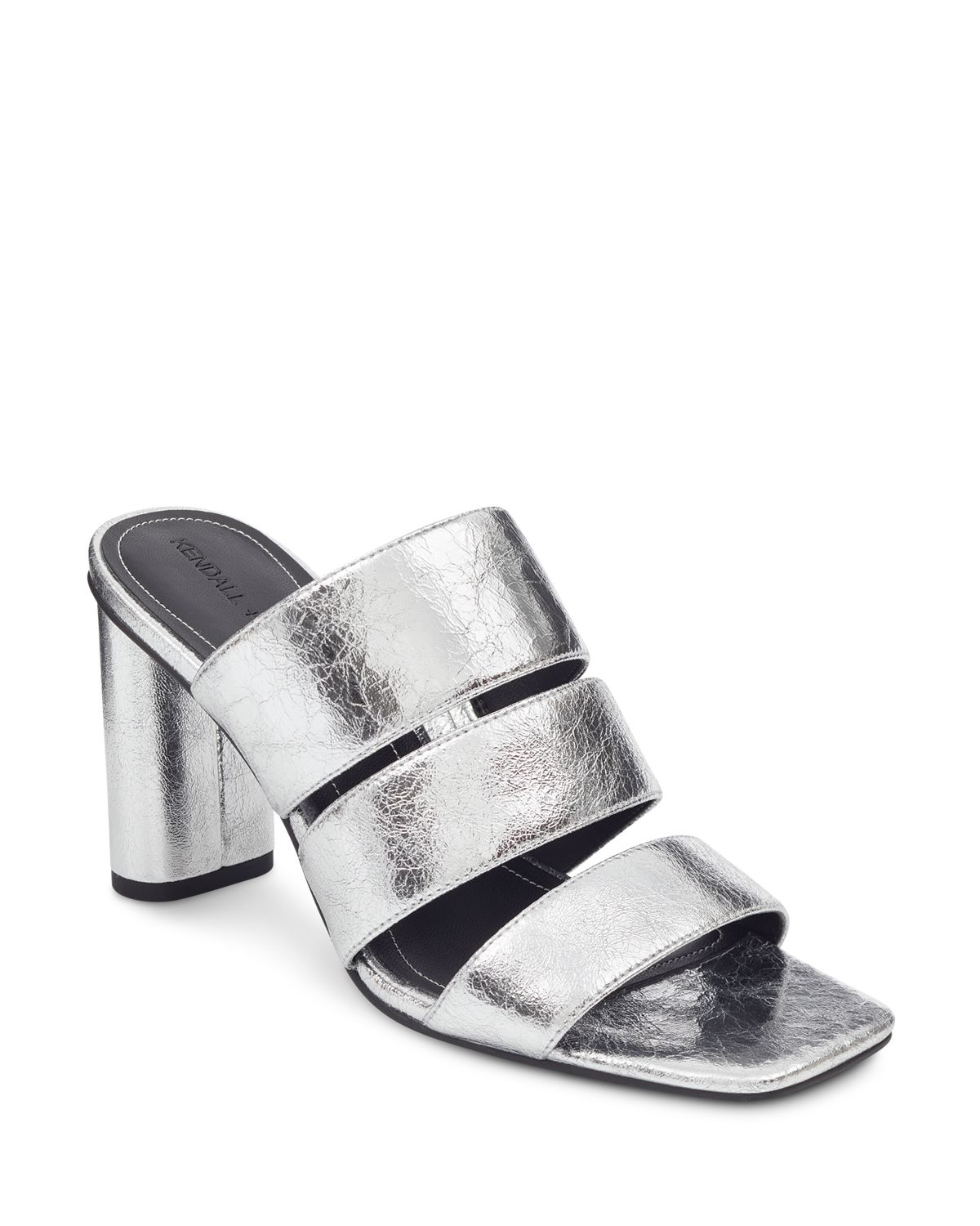 Kendall And Kylie Women's Leila Metallic Leather Block Heel Slide Sandals
