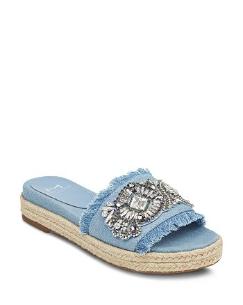 7b4d41471b2 Marc Fisher LTD. - Women s Jelly Embellished Chambray Espadrille Slide  Sandals