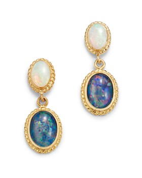 Bloomingdale's - Blue & White Opal Drop Earrings in 14K Yellow Gold - 100% Exclusive