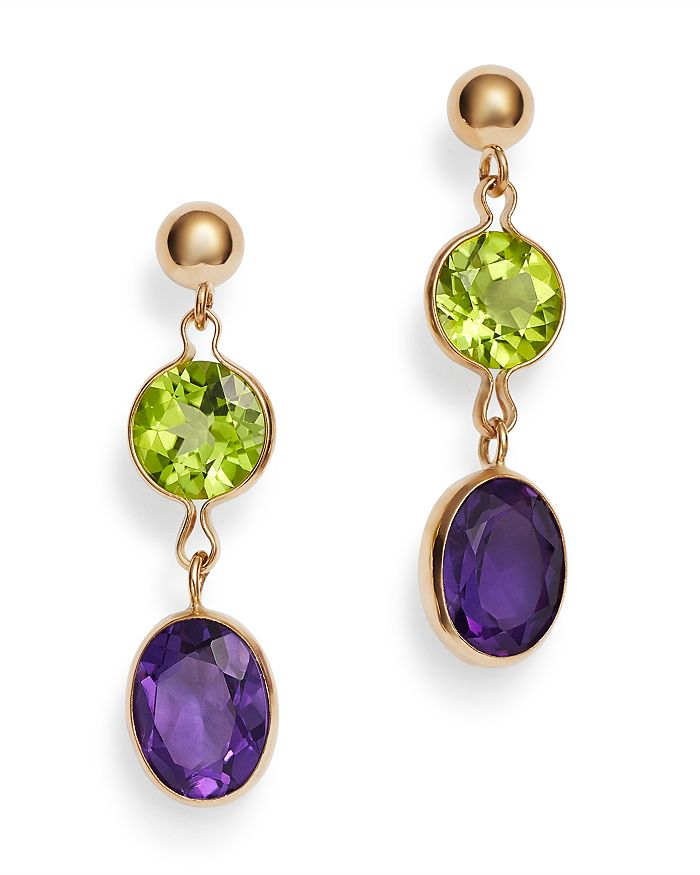 Bloomingdale's - Peridot & Amethyst Drop Earrings in 14K Yellow Gold - 100% Exclusive
